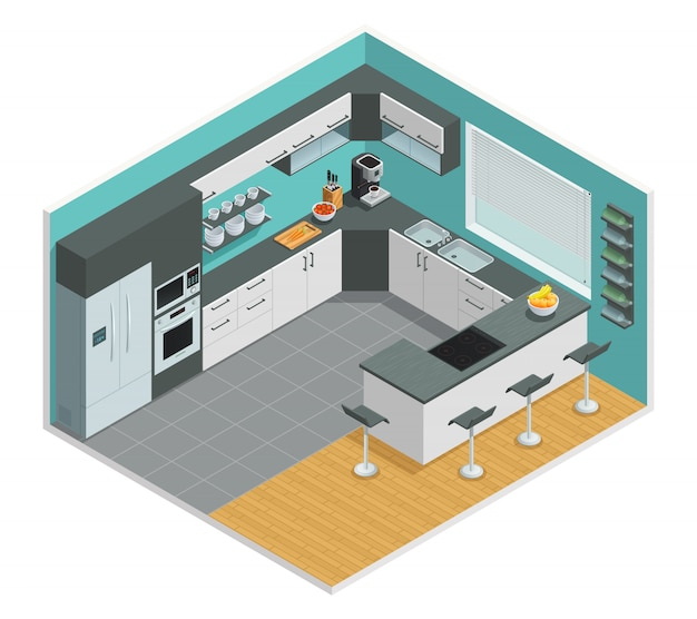 Color isometric design of kitchen interior with chair cupboard and table Free Vector