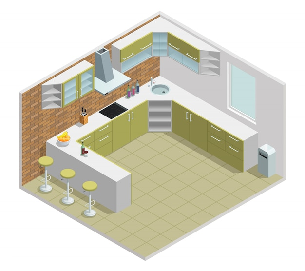 Color isometric design of kitchen with table cupboard Free Vector