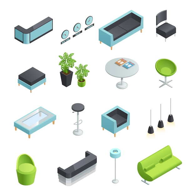 Color isometric icons of interior elements of hall foyer Free Vector