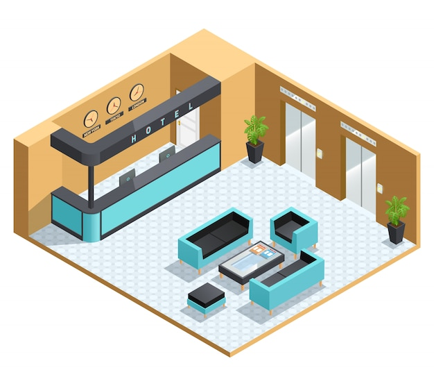 Color isometric illustration depicting hall interior Free Vector