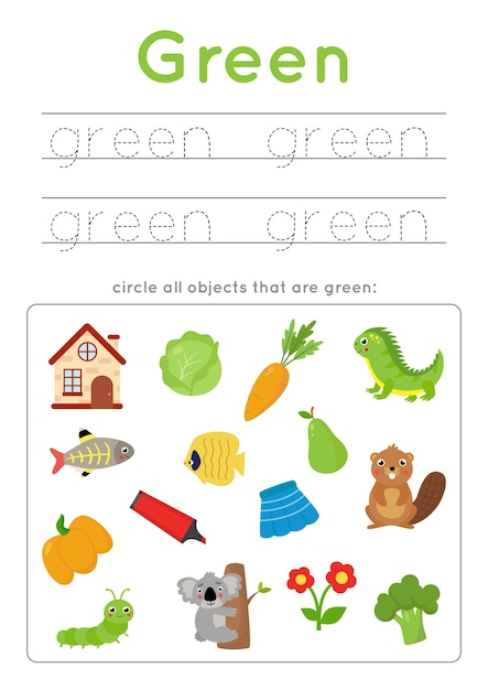 Premium Vector Color Learning Worksheet For Preschool Kids. Green Color.  Tracing Word. Handwriting Practice. Find And Circle All Objects In Green  Color.