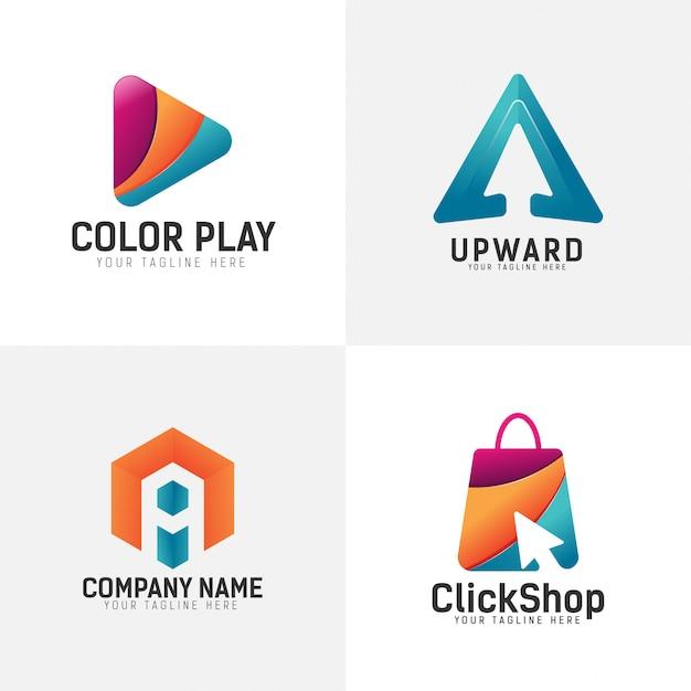 Color logo set Premium Vector