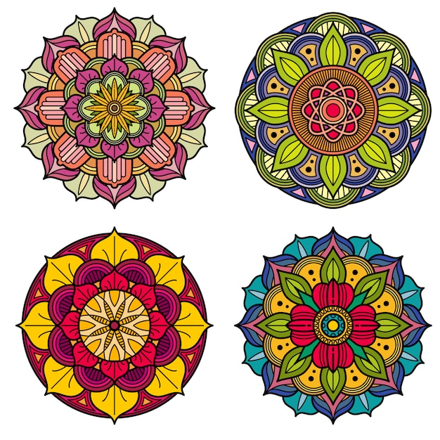 Color mandalas indian and chinese floral vector patterns Premium Vector