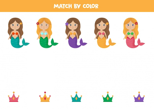 Premium Vector Color Matching Game For Kids Cute Cartoon Mermaid And Crown 30cm cartoon mermaid plush doll toy comfort doll mini cute pillow baby stuffed plush toys for children girls birthday gifts. https www freepik com profile preagreement getstarted 7196432