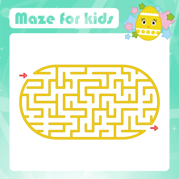 Color oval labyrinth. kids worksheets. activity page. game puzzle for children. Premium Vector
