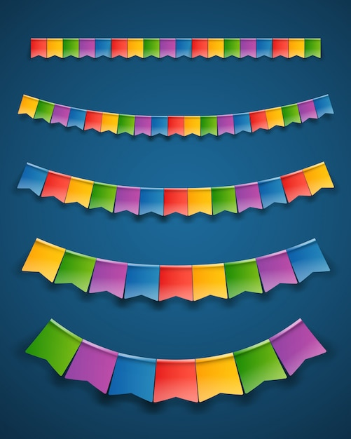 Color paper flags garlands on dark Premium Vector