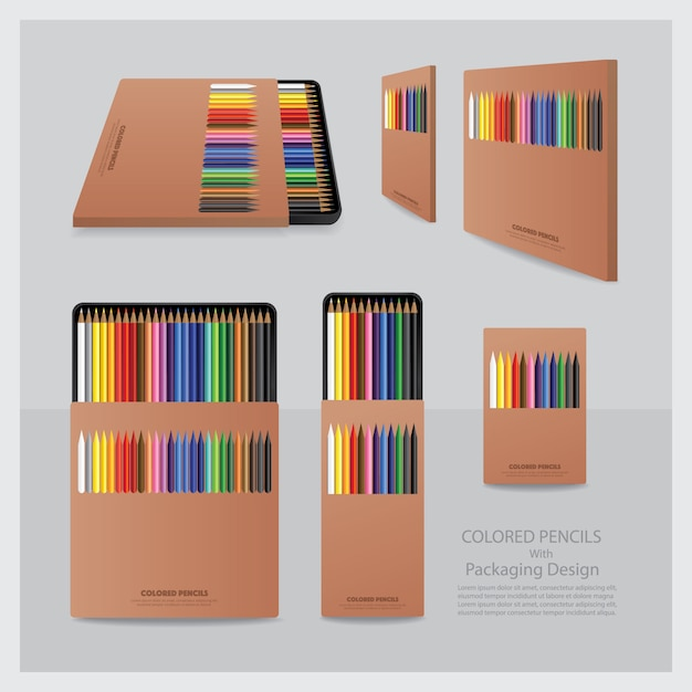 Color pencils with packaging design realistic Premium Vector