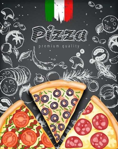 Color pizza poster. Premium Vector