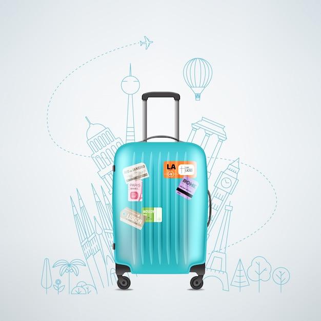 Color plastic travel bag with different travel elements illustration Premium Vector