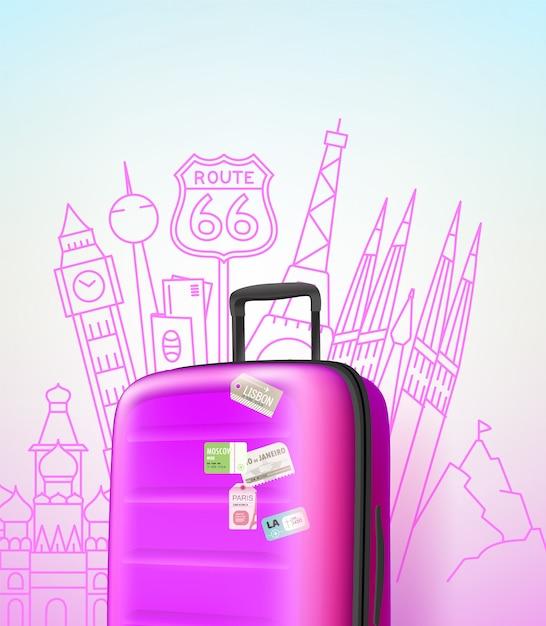 Цвет пластиковая сумка с различными элементами путешествия векторные иллюстрации. концепция путешествия. путешествие векторная иллюстрация Premium векторы