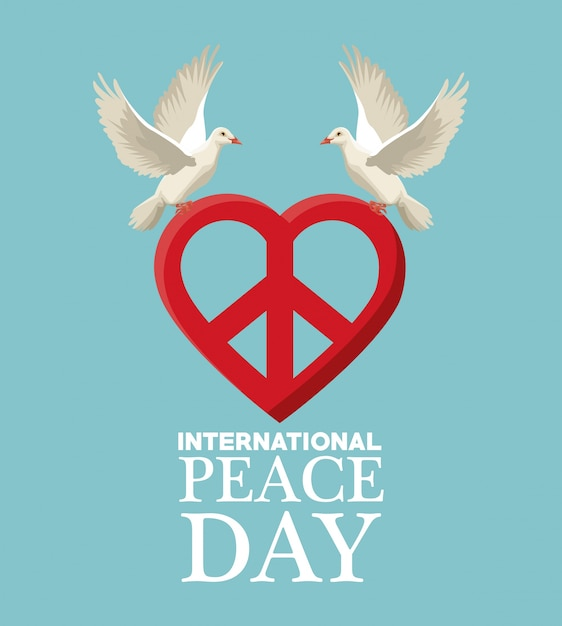 Color Poster Pair Pigeons Flying With Heart Shape Peace And Love