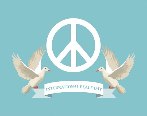 Color Poster With White Peace And Love Symbol And Pair Pigeons