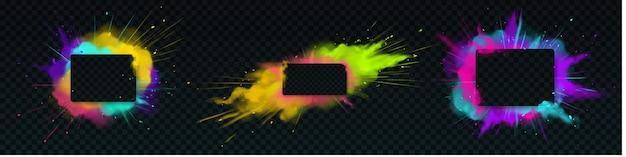 Цветной взрыв порошка с прямоугольной рамкой Бесплатные векторы