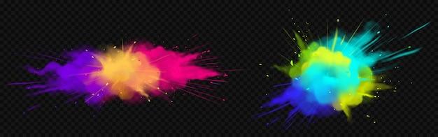 Взрывы цветного порошка, изолированные на прозрачном пространстве Бесплатные векторы