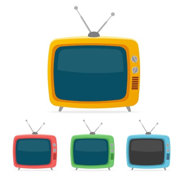 Color retro tv set isolated on white background. Premium Vector