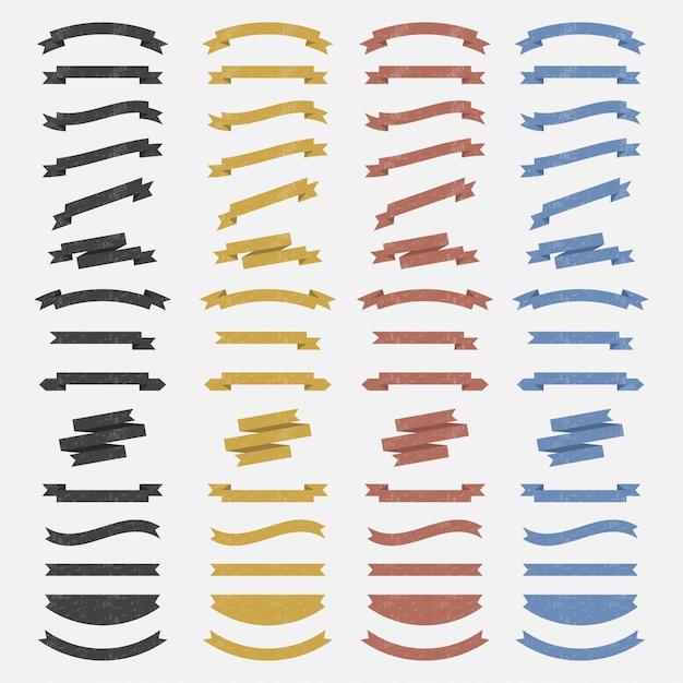 Color ribbons Premium Vector