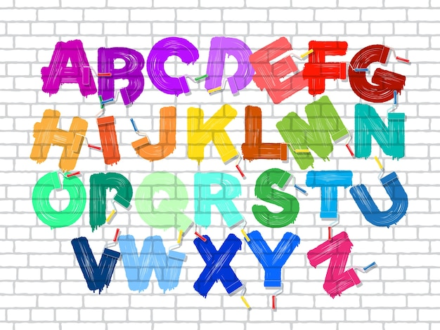 Color roller brush graffiti alphabet on the old brick wall background Premium Vector