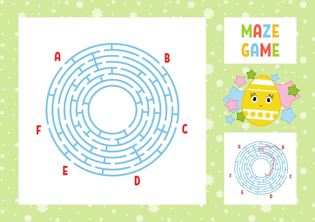 Color round labyrinth. kids worksheets. activity page. game puzzle for children. Premium Vector