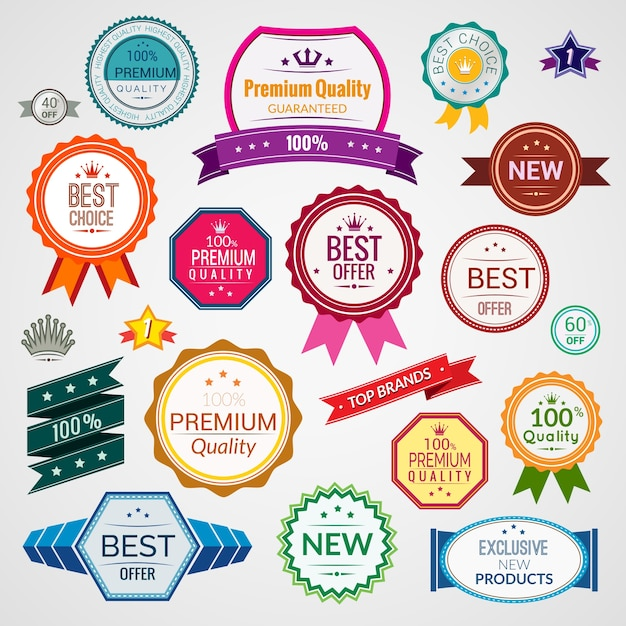 Color sale premium quality best choice exclusive labels set isolated vector illustration Free Vector