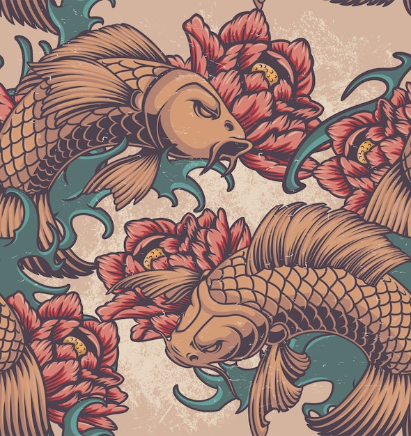 Color seamless pattern on the japanese theme with koi carp, peonies and waves. Premium Vector