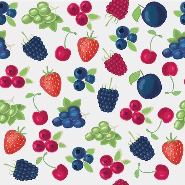 Цветной бесшовные модели иллюстрации различных видов ягод Premium векторы