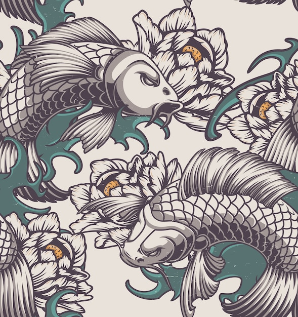 鯉、牡丹、波と日本のテーマの色のシームレスなパターン。 Premiumベクター