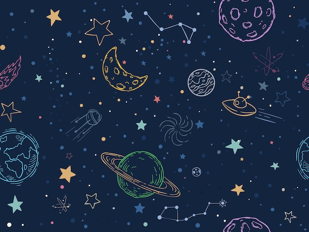 Цвет бесшовные космический образец Бесплатные векторы