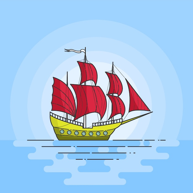 Color ship with red sails in the sea on blue background. traveling banner. abstract skyline. flat line art. vector illustration. concept for trip, tourism, travel agency, hotels, vacation card. Premium Vector