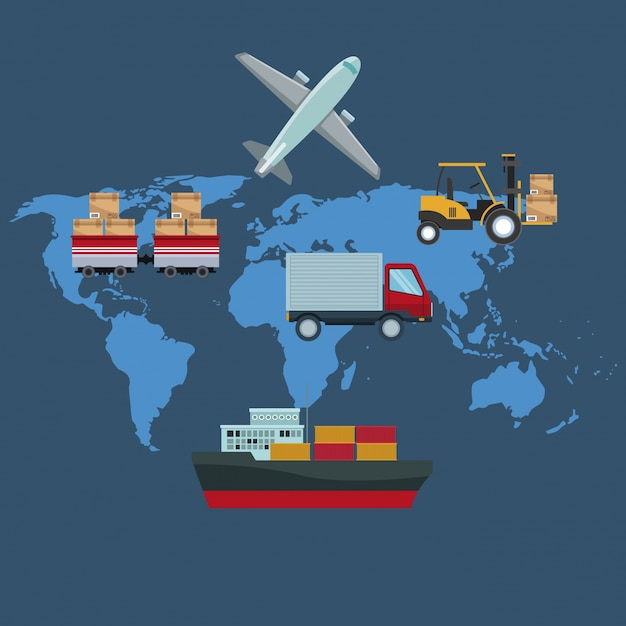 Color silhouette world map background with icons logistics transport color silhouette world map background with icons logistics transport vehicles premium vector gumiabroncs