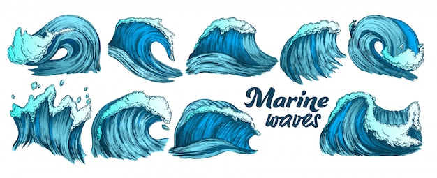 Color sketch splash marine wave set Premium Vector