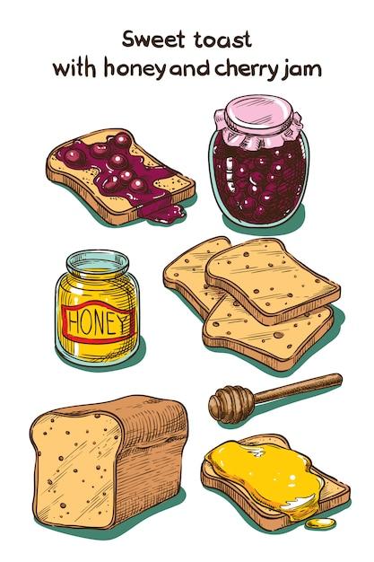 Цветной эскиз сладкий тост с медово-вишневым вареньем Premium векторы