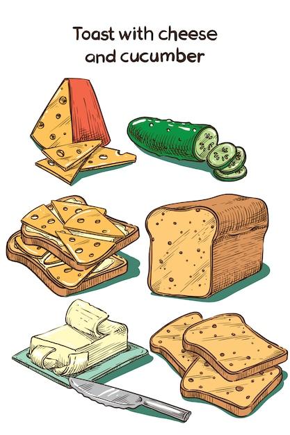 Цветной эскиз тост с сыром и огурцом Premium векторы