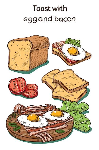 Цветной эскиз тост с яйцом и беконом Premium векторы