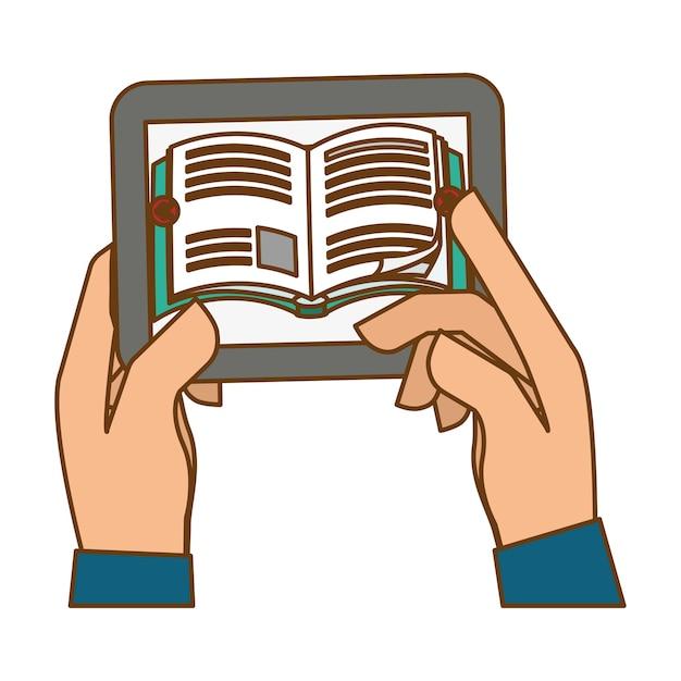 Color smartphone help to knowledge Premium Vector