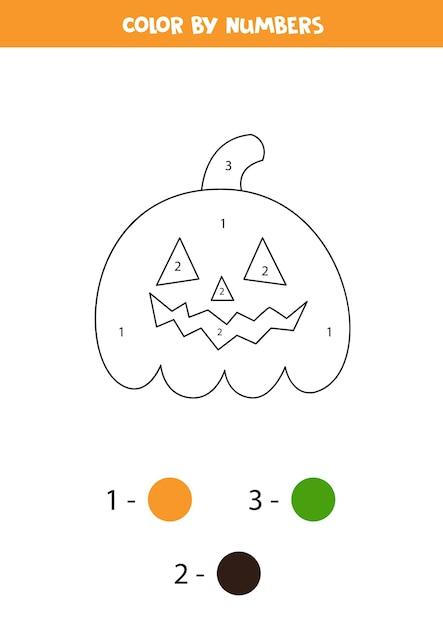 数字で笑顔のハロウィーンジャックoランタンカボチャの色。 Premiumベクター