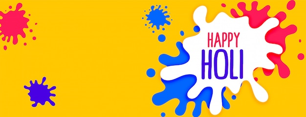 Color splashes for happy holi festival banner Free Vector