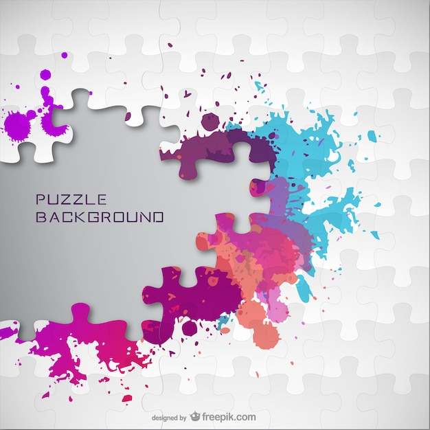 Color splatter jigsaw background  Free Vector