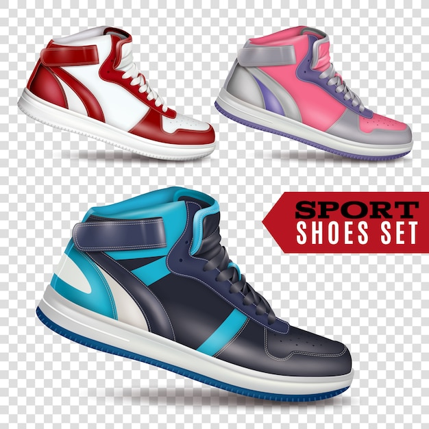 Color sport shoes on transparent background Free Vector