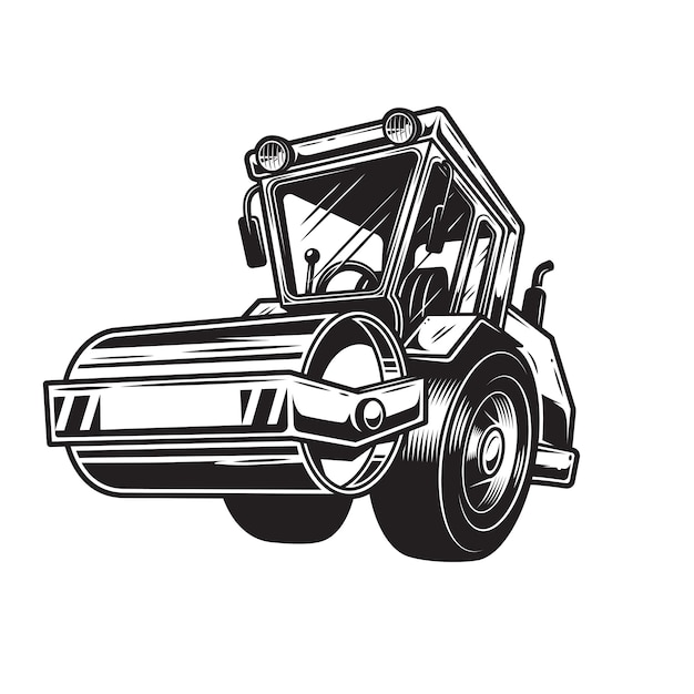 Of  color steamroller on white background. monochrome style Free Vector