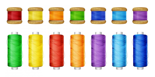 Color thread spools set illustration of sewing tools. Free Vector