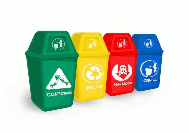 Color trash and garbage separation Premium Vector