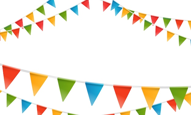 Color triangle flags garland. Premium Vector