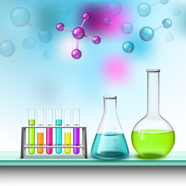 Color tubes and molecules composition Free Vector