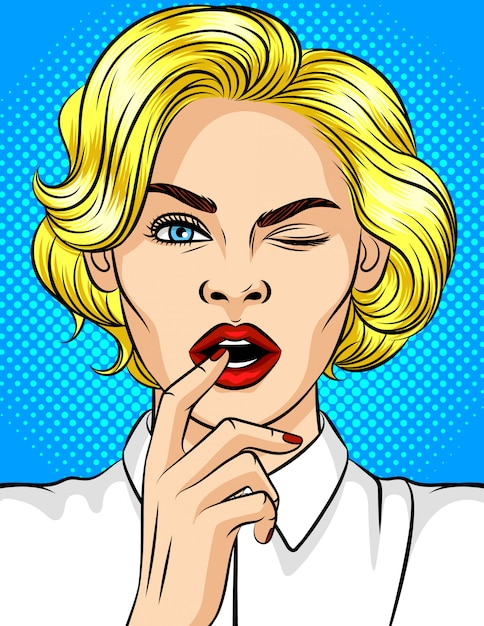 Color vector illustration of pop-art style girl winks. beautiful blonde with red lips flirts. girl with a finger at an open mouth. young attractive girl in a playful mood Premium Vector