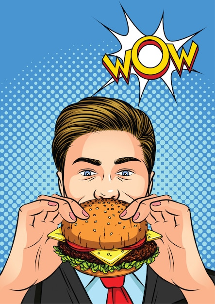 Color vector illustration of a pop art style. the man eating a burger.   a man with a cheeseburger in his hand. Premium Vector