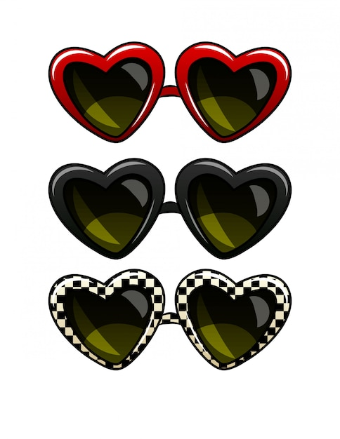 Color vector illustration set of vintage sunglasses. glasses in a frame in the form of heart. sunglasses of different colors, isolated Premium Vector