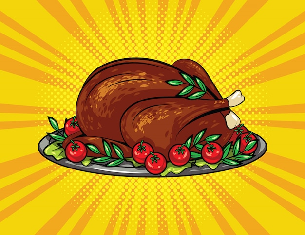 Color vector pop art style illustration for thanksgiving. roasted turkey on a tray. Premium Vector