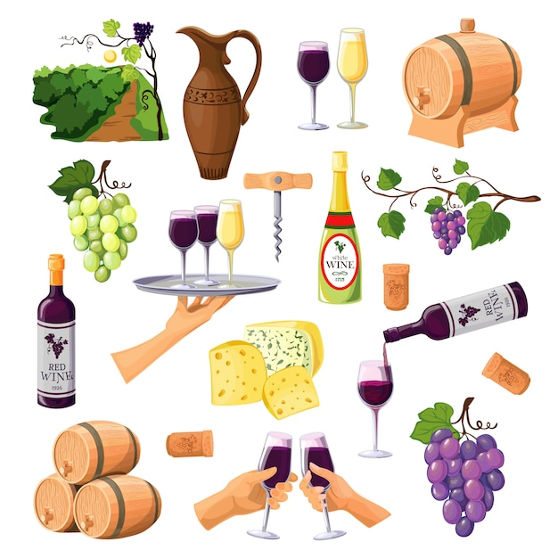 Set di icone di vino di colore Vettore gratuito