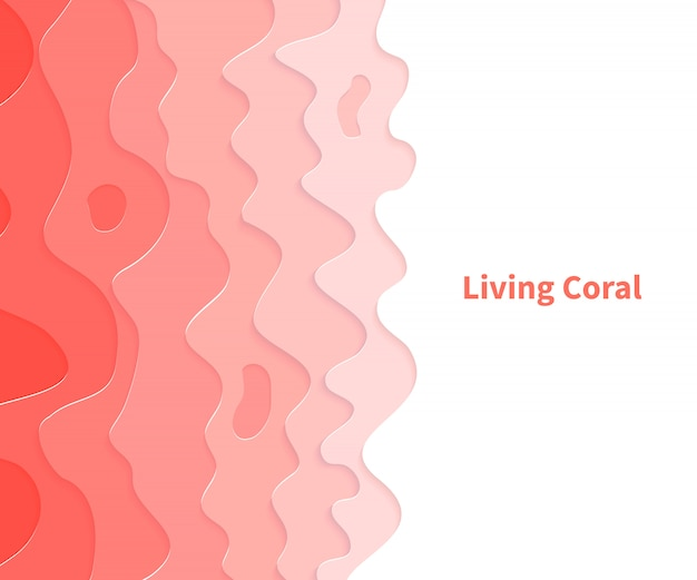 Color of the year 2019. living coral. paper cut art carving. Premium Vector