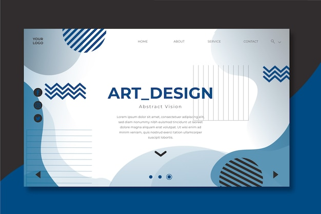 Color of the year 2020 geometric landing page template Free Vector